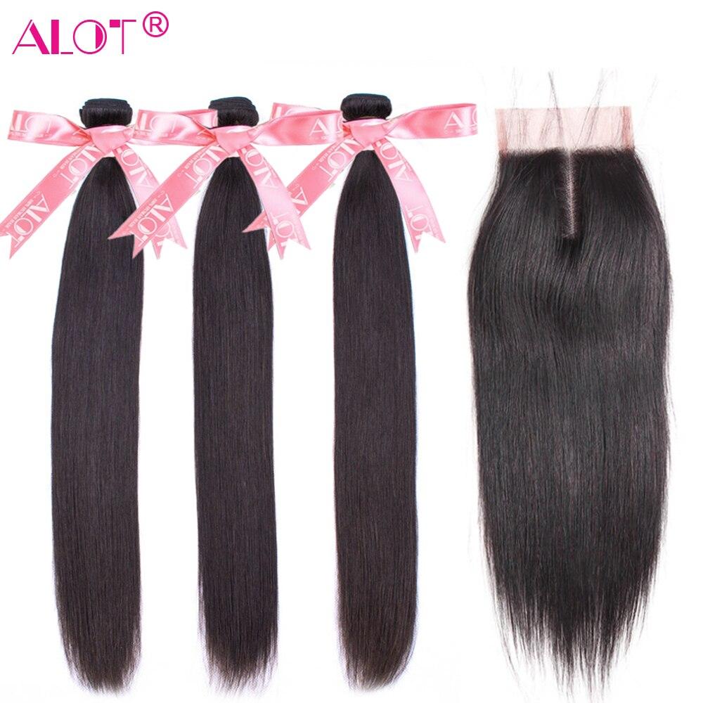 Peruvian Straight Hair Bundles With Closure 100% Human Hair Weave 3 Bundles With Lace Closure Non-Remy 4 Pcs/lot